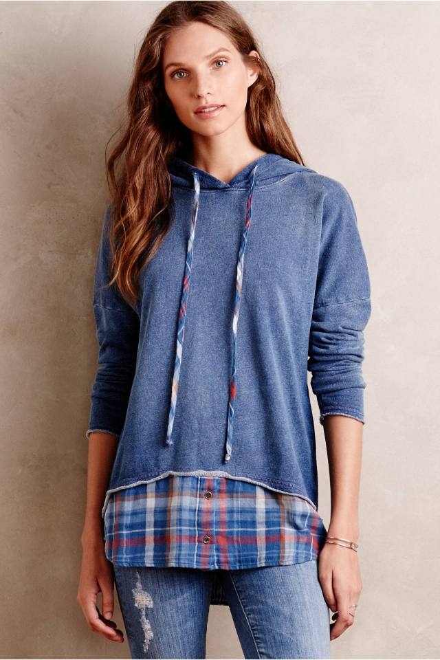 Layered Plaid Hoodie by Cloth & Stone