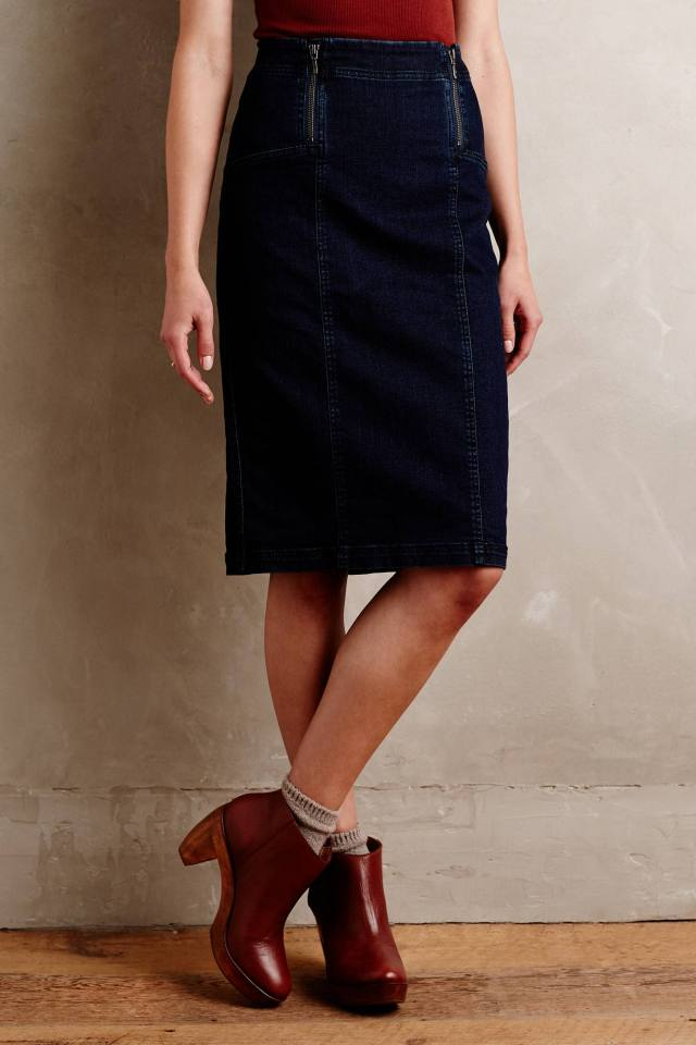 Denim Pencil Skirt by Pilcro