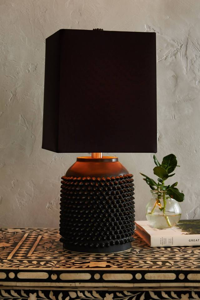 Studded Porcelain Lamp Ensemble