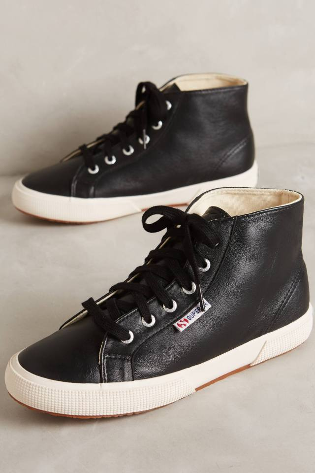 Leather High-Top Sneakers by Superga