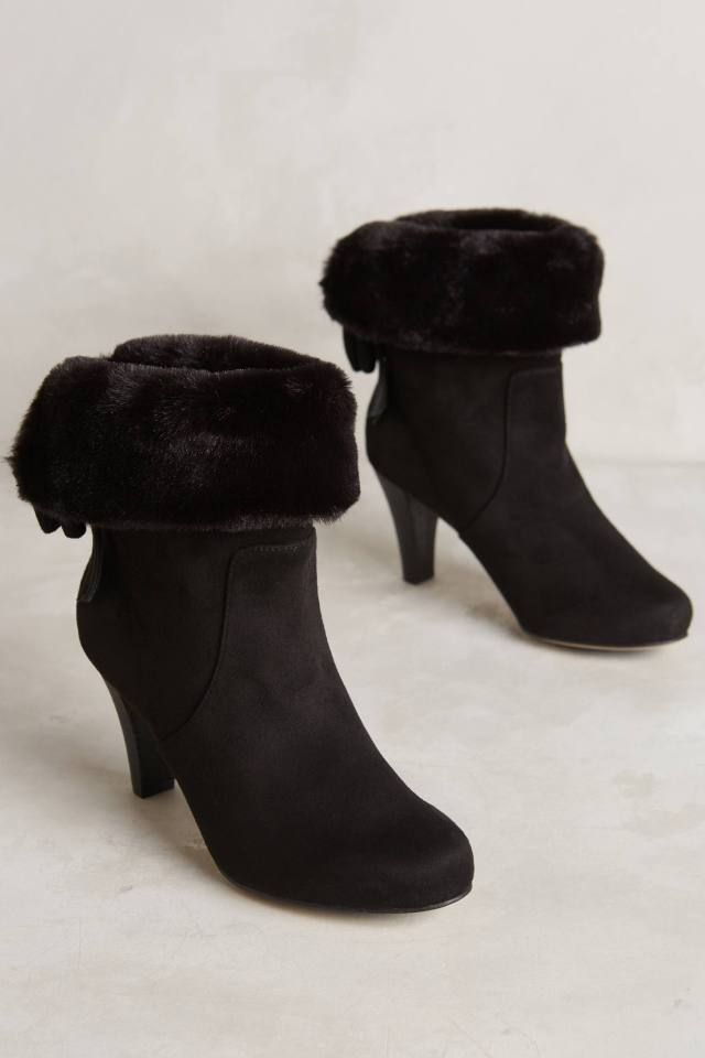 Fur Collar Booties by All Black