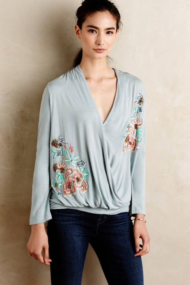 Embroidered Cross-Front Pullover by Akemi + Kin