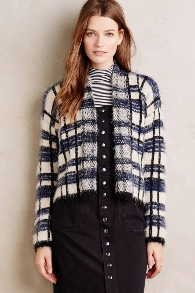 Plaid Eyelash Cardigan by La Fee Verte