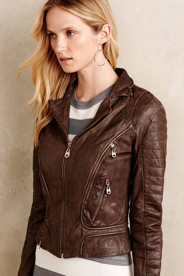 Hooded Leather Moto Jacket by Doma