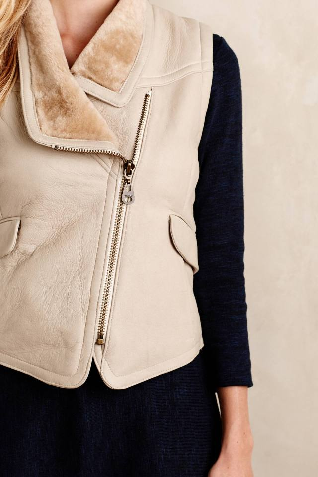 Leather Sherpa Vest by Doma