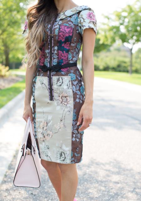 Pieced Brocade Dress by Byron Lars