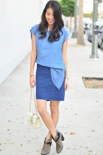 Tucked Chambray Dress by Amadi