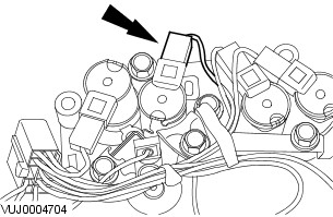 Location of JB155 Transmission Electrical Connector to