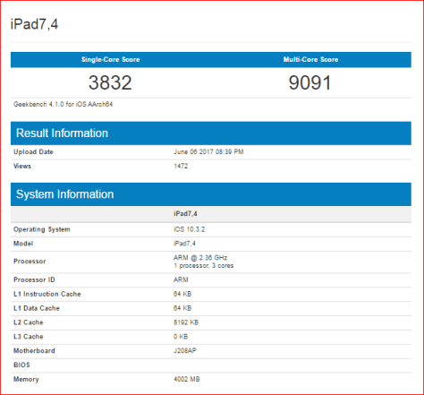 new ipad model appeared geekbench