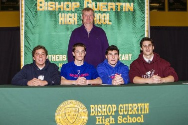 From L to R: Alex Astarita, Gage Sevigny, Dillon Hayes, Max McCabe. Coach Chris Cameron stands behind them.