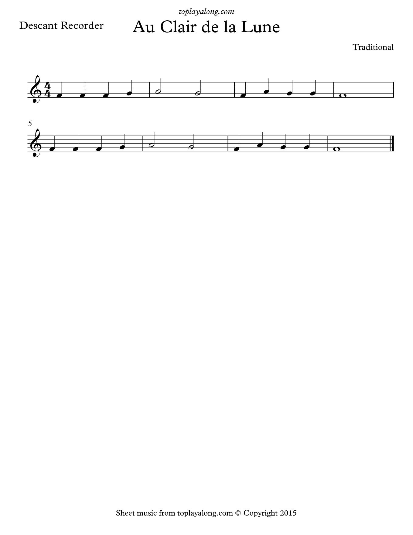 Notes Au Clair De La Lune : notes, clair, Clair, Toplayalong.com