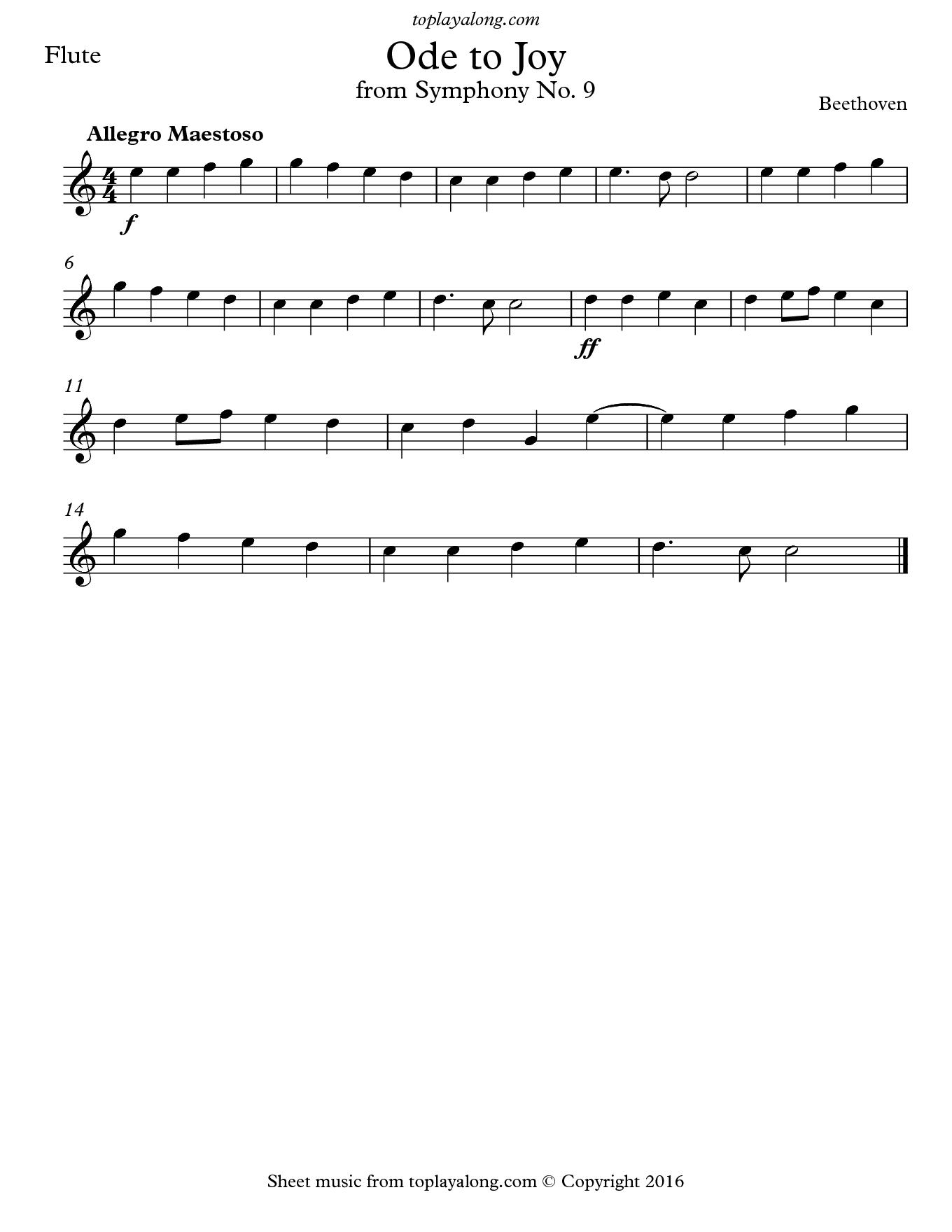 Ode To Joy From Symphony No 9 Toplayalong
