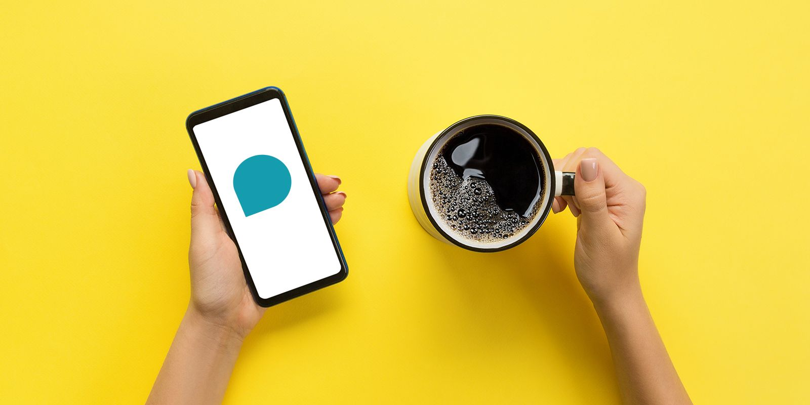 A picture of female hands holding a mobile phone in one hand and a cup of coffee in the other with a yellow background on the digital PR services page.