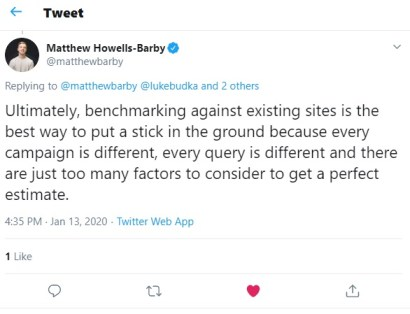 Image of tweet for how long does SEO take page