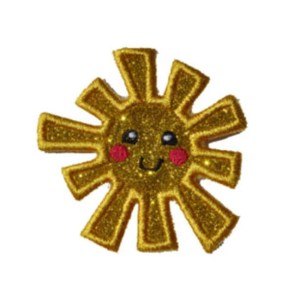 custom cute Smiling sun embroidery heat Sparkle Glitter transfer patches