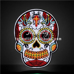 Skull with Cross Embroidery Patch Iron on Jackets