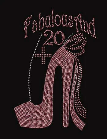 Birthday Fabulous and 20 Pink Rhinestone Iron on Transfer