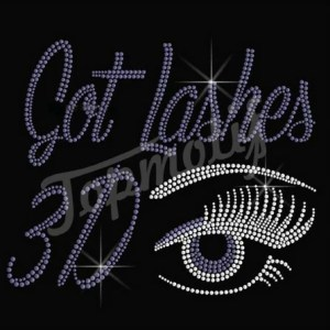 Lashes Beautiful Rhinestone Eye Iron On Transfer Motif