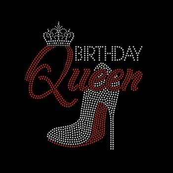 birthday queen rhinestone heat transfer designs