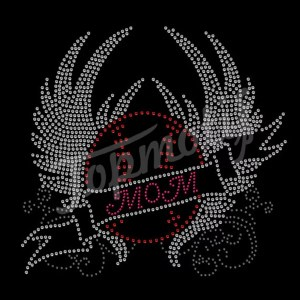 Baseball MOM crystal wing rhinestone motif