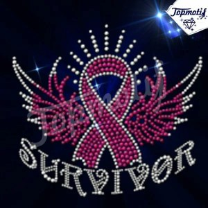 breast cancer Ribbon Rhinestone Iron On Transfer rhinestone motif