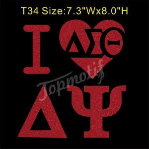Sorority Glitter Vinyl Transfer Wholesale I Love Delta Psi Glitter Appliques