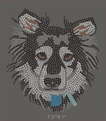 Big Collie dog hot fix rhinestone transfer for T shirt wholesale price