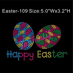 Easter Eggs Iron Ons Happy Easter Heat Transfer Rhinestones Wholesale