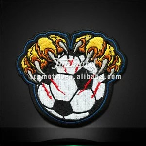 Soccer with Paw Embroidery Patches Iron on Garments