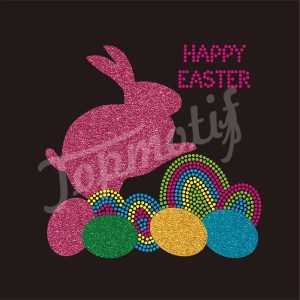 Cute Rabbits Wholesale Rhinestone Transfer For Easter