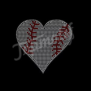 New Design Filled Heart Baseball Rhinestone Iron Transfer Hotfix Decal For T Shirt