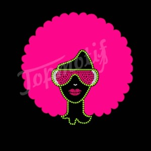 2015 afro girl heat transfer vinyl iron on transfer wholesale