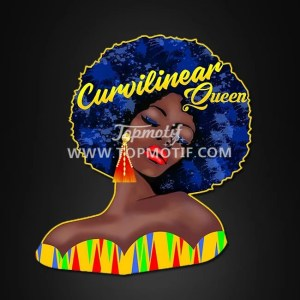 Black queen heat transfer printed afro girl