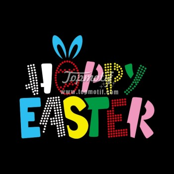Happy Easter colorful vinyl heat press rhinestone transfer