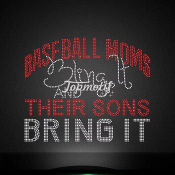 Rhinestone baseball mom bring it motif iron on design for apparel