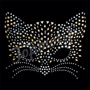 Cat face rhinestone iron on transfer for tank tops