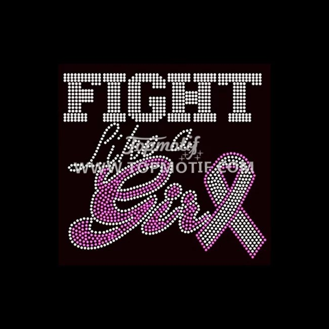 Fight like a girl iron on ribbon rhinestone transfer designs