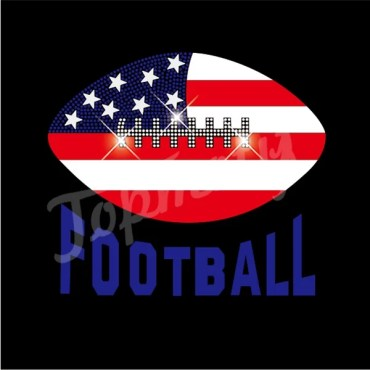 Americal flag football heat transfer vinyl rhinestone transfers