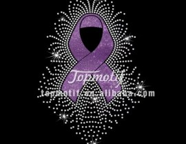 Custom Cancer Awareness Glitter Vinyl Ribbon With Rhinestone Iron On T-shirt Transfers