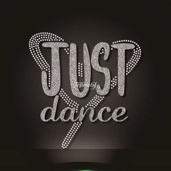 Just dance silver glitter crystal rhinestone transfers for t shirts