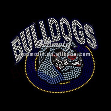 Wholesale Iron On Appliques Bulldogs Hot Fix Stone Motif