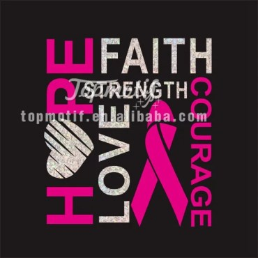 Hope Faith Heat transfer Foil Designs for Breast Cancer Awareness