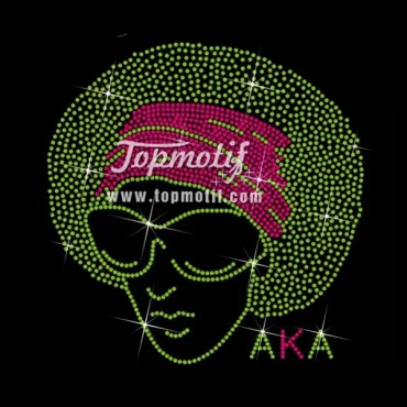 aka afro girl iron on crystals transfers