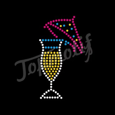 Hotfix Iron On Rhinestone Transfers Wine Motif Crystal Applique For Dresses