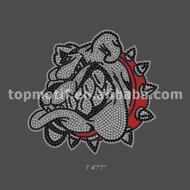 Low MOQ Wholesale Rhinestone Bulldog Iron on Transfers