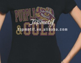Purple and Gold Rhinestone Transfers for T Shirts Wholesale