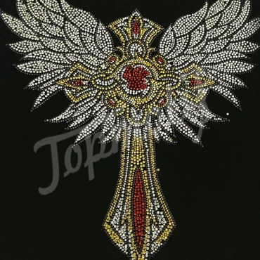 Cross wings rhinestone hotfix transfers, heat appliques