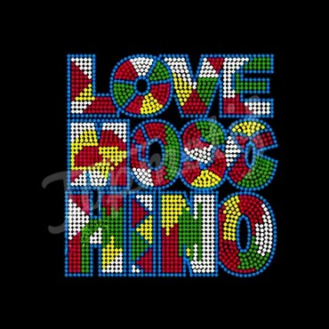 Colorful lOVE MOSE MINO Letter Hotfix Rhinestone Transfers For Tshirts