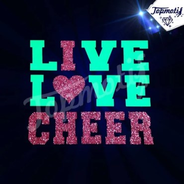 Beautiful Wholesale Hot Fix Live Love Cheer Glitter Rhinestone Design For Clothing