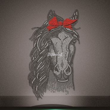 Red vinyl bow-knot rhinestone horse pattern heat transfer